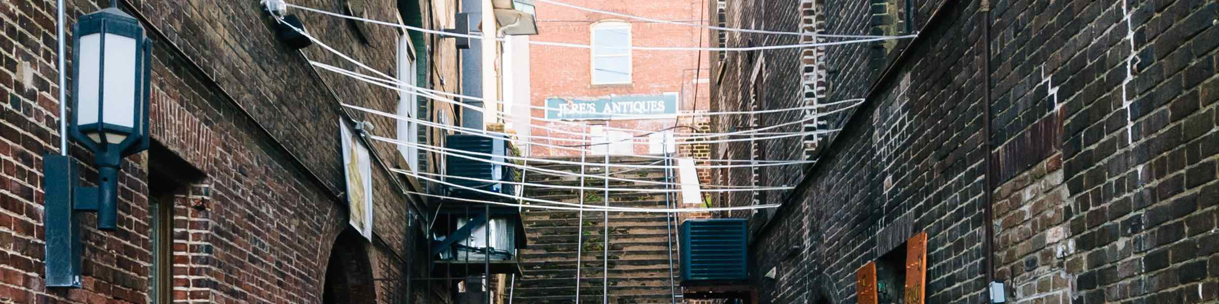 A Savannah antiques store, as seen from one of the narrow alleys leading down to River Street.