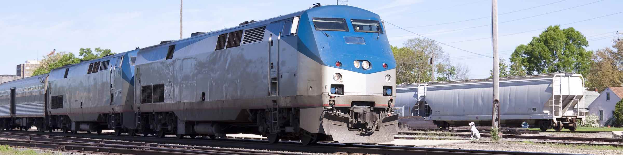 Locomotive and first carriage of a blue and silver Amtrak train in a siding.