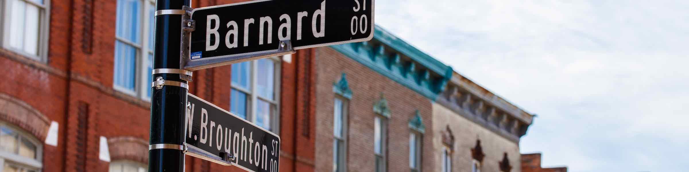 Signpost at the intersection of Broughton and Barnard Streets, Savannah, GA.