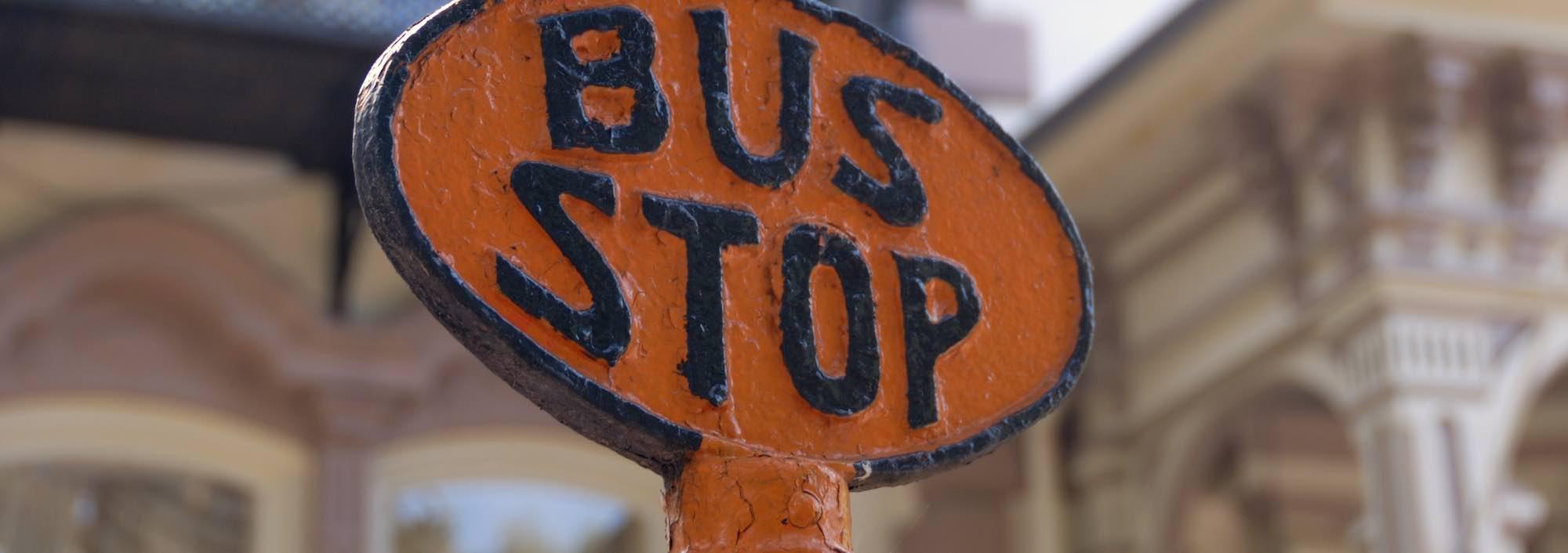 Bus stop sign in Savannah, GA.