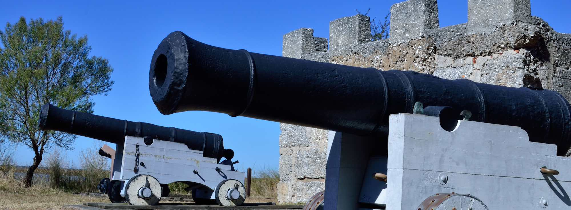 Cannon and the King's Magazine at Fort Frederica National Monument, St Simons Island, Georgia.