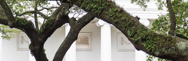 A view of Savannah, GA's Christ Church, Johnson Square, through the trees.