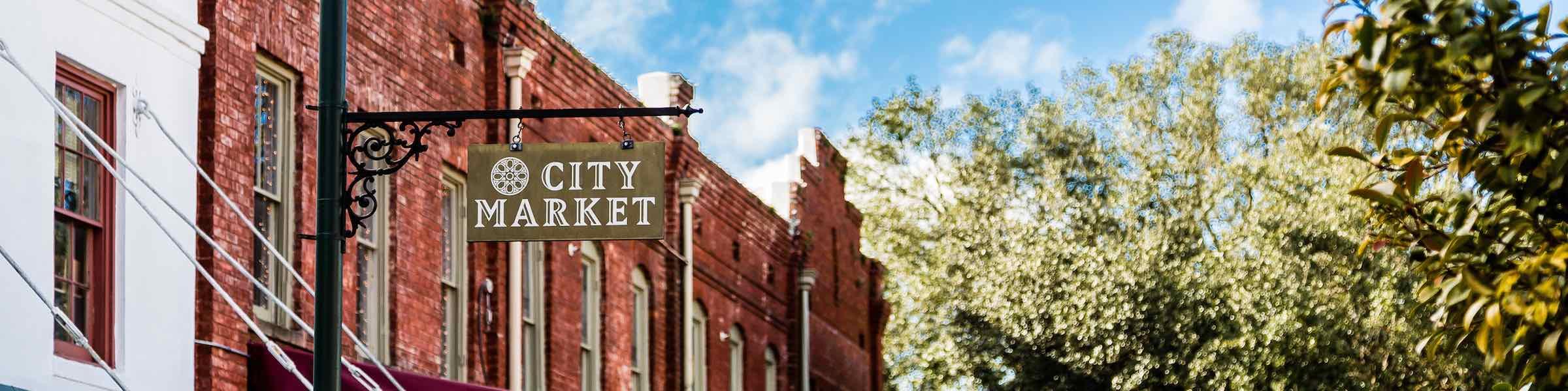 Sign marking Savannah's City Market, between Ellis and Franklin squares.