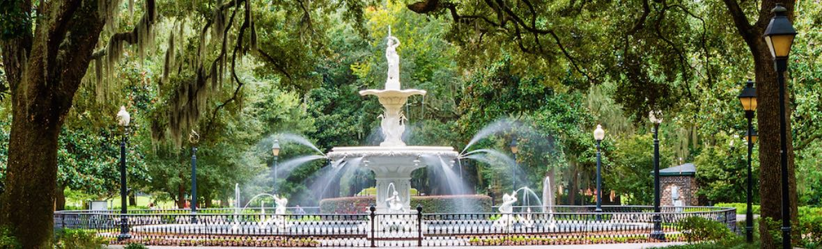A view of the fountain in Savannah's Forsyth Park