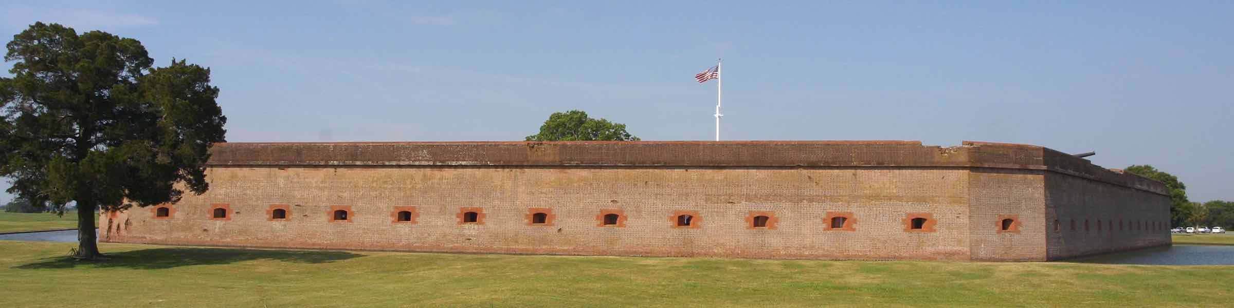 Outer walls and moat of Fort Pulaski National Monument.