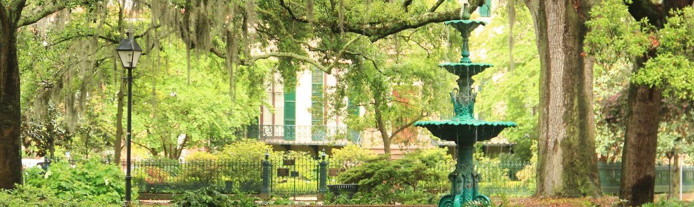 The Memorial Fountain in Lafayette Square, Savannah, GA.