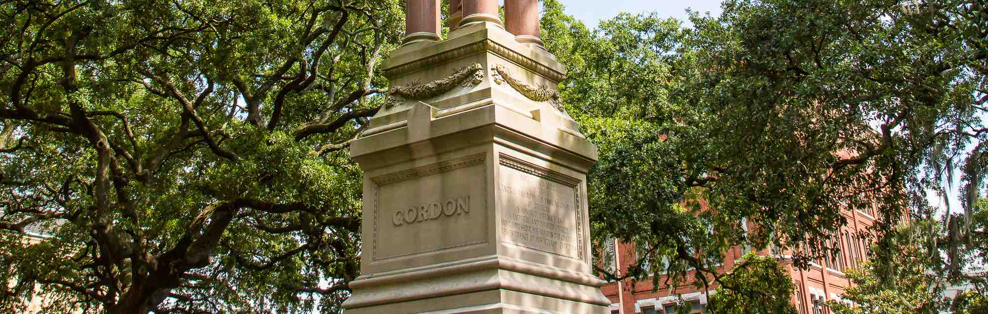 Base of the Gordon Monument in Wright Square, Savannah, GA.
