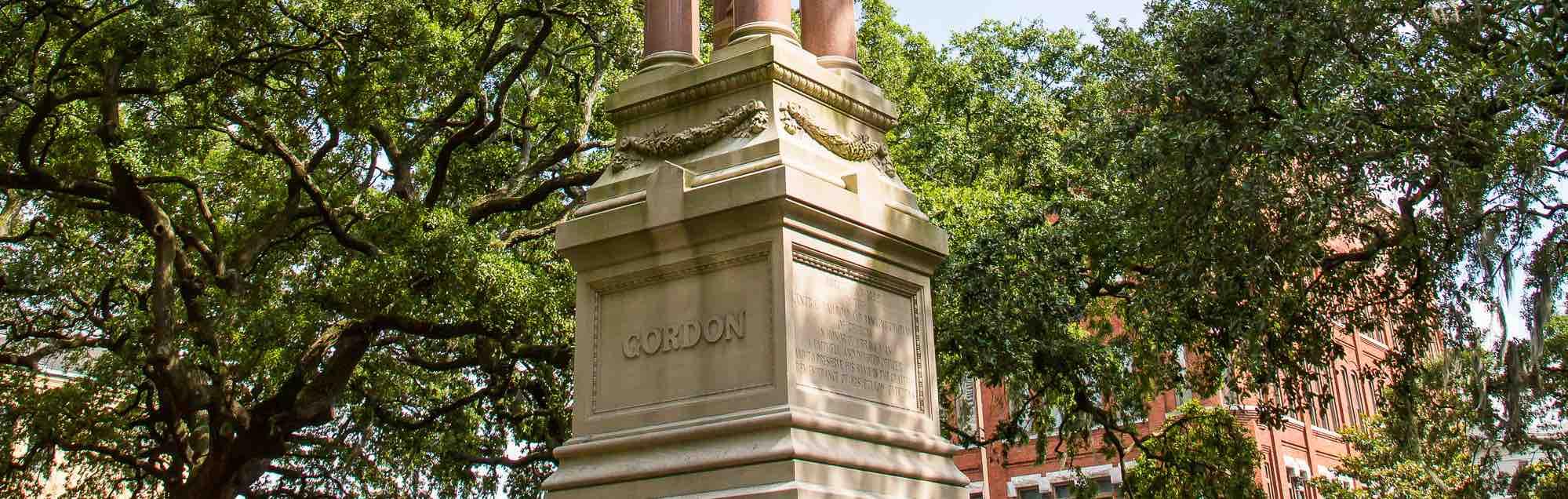 Base of the Gordon Monument in Wright Square, Savannah, GA.