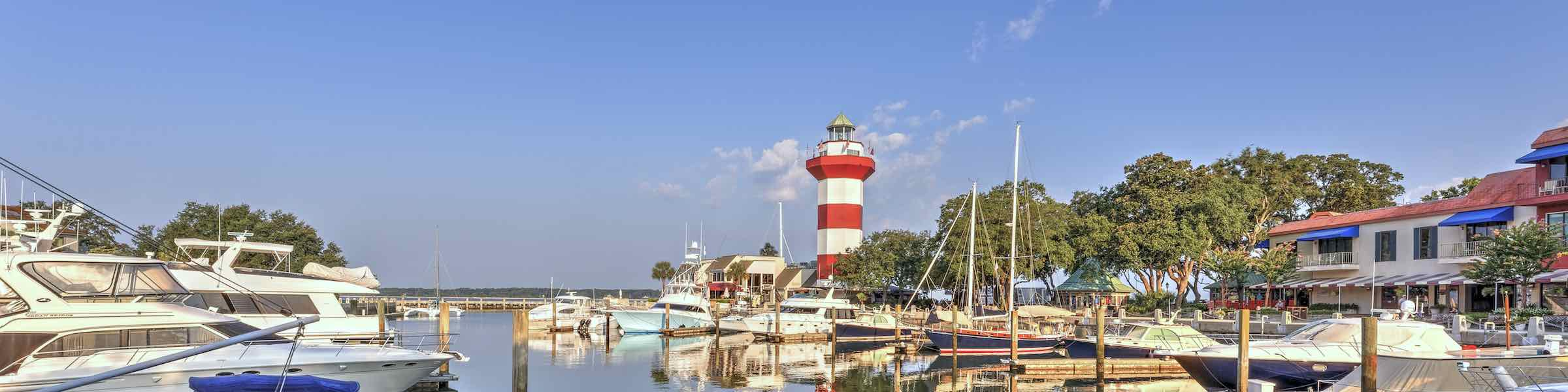 Harbour Town Lighthouse and marina at Hilton Head Island, SC.