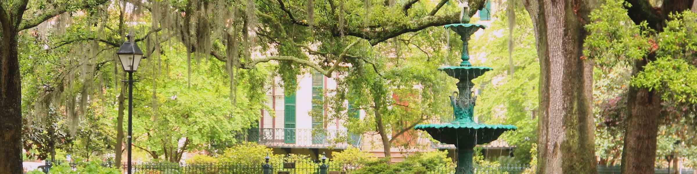 The fountain in Lafayette Square, Savannah, GA.