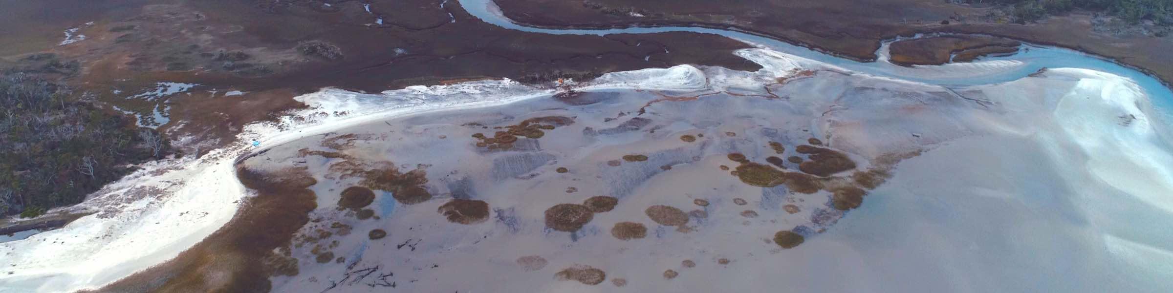 Aerial view of Little Tybee Island, Georgia.