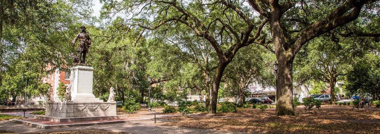 The Oglethorpe Monument in Savannah, GA's Chippewa Square.