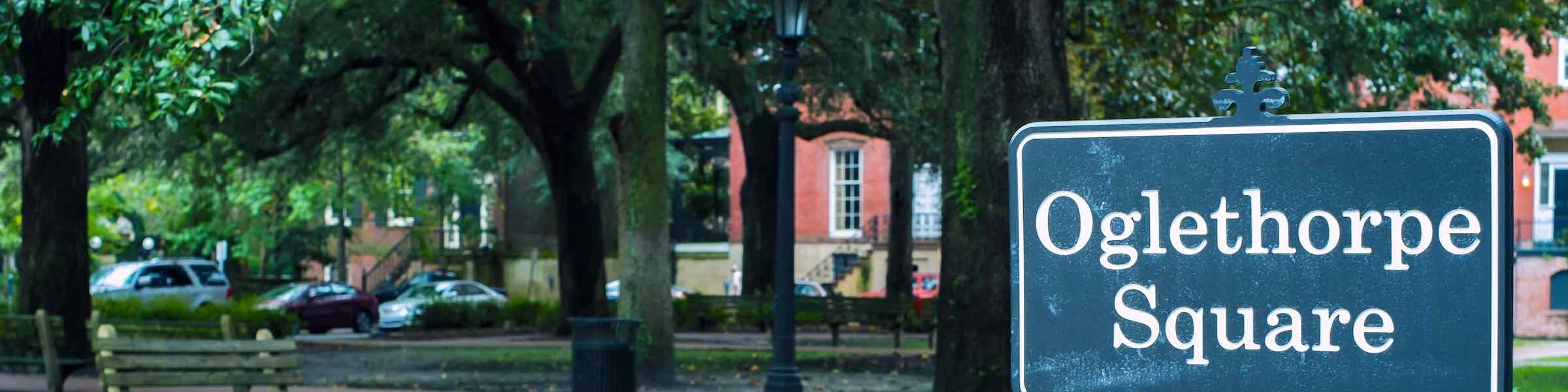 A sign marking Oglethorpe Square, in Savannah, GA.