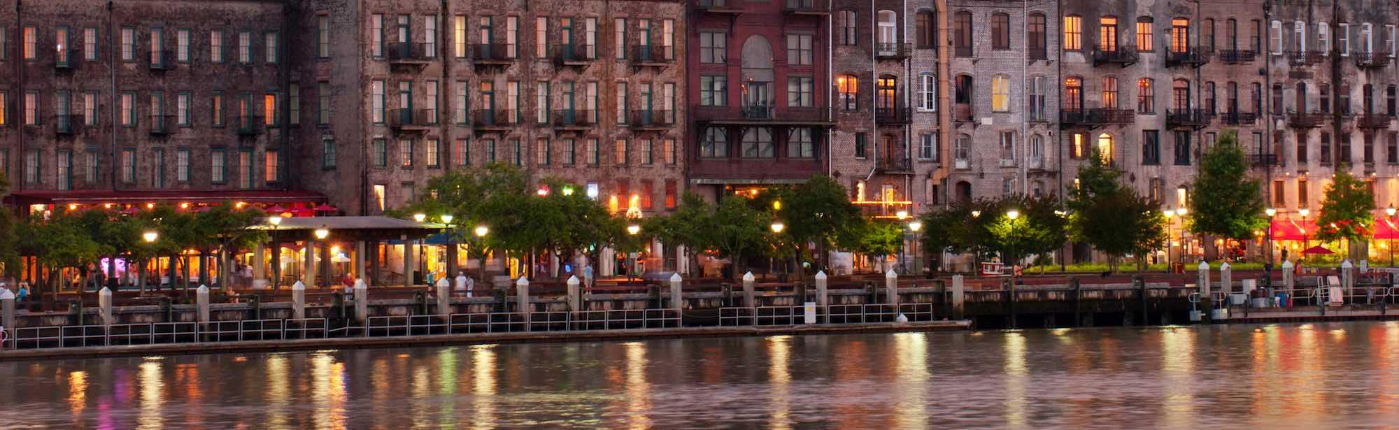 River Street Savannah Ga At Night