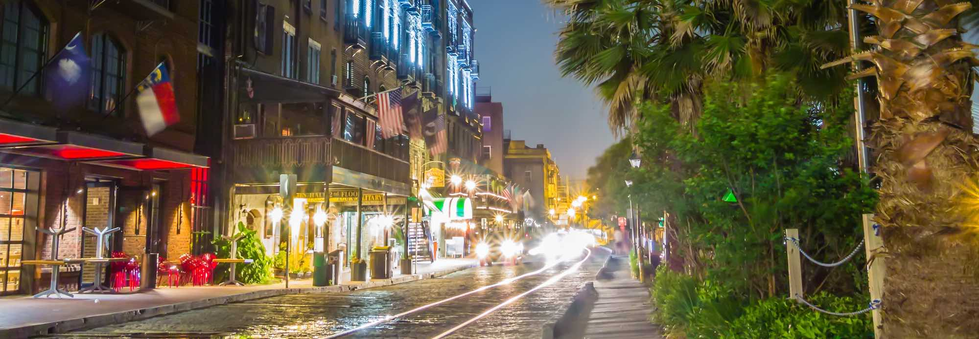 Night time view of River Street in Savannah, GA.