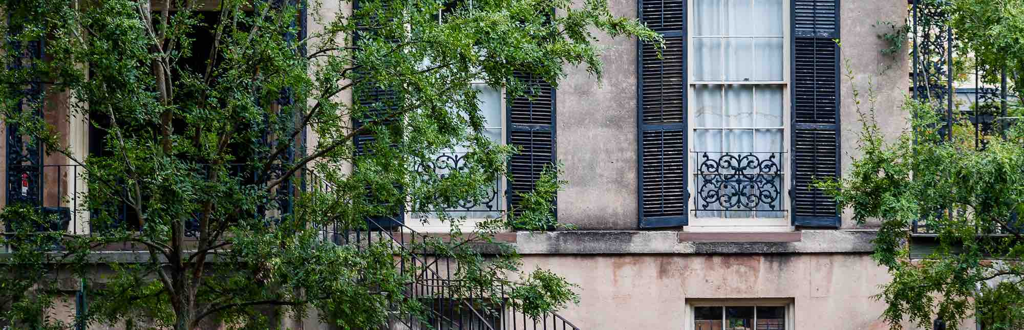 Side view of a town house in Savannah, GA.