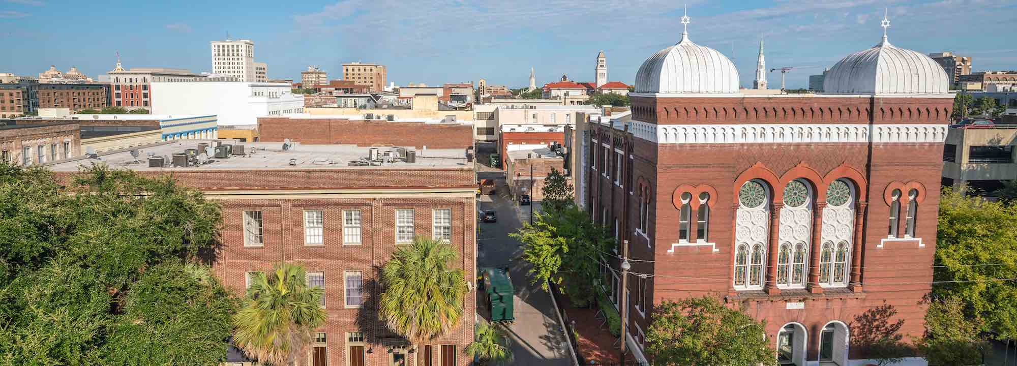 View of Montgomery Street, Savannah, GA, with the former B'nai Brith Jacob Synagogue.