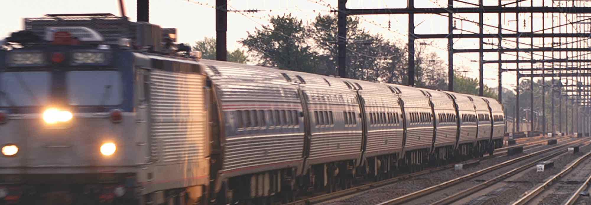Passenger train at dusk.