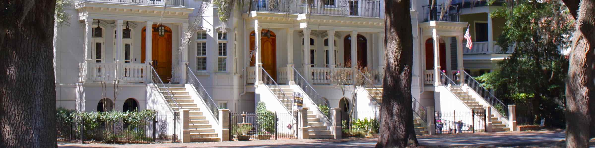 19th century architecture along Whitaker Street in the north of Savannah, GA's Victorian District.