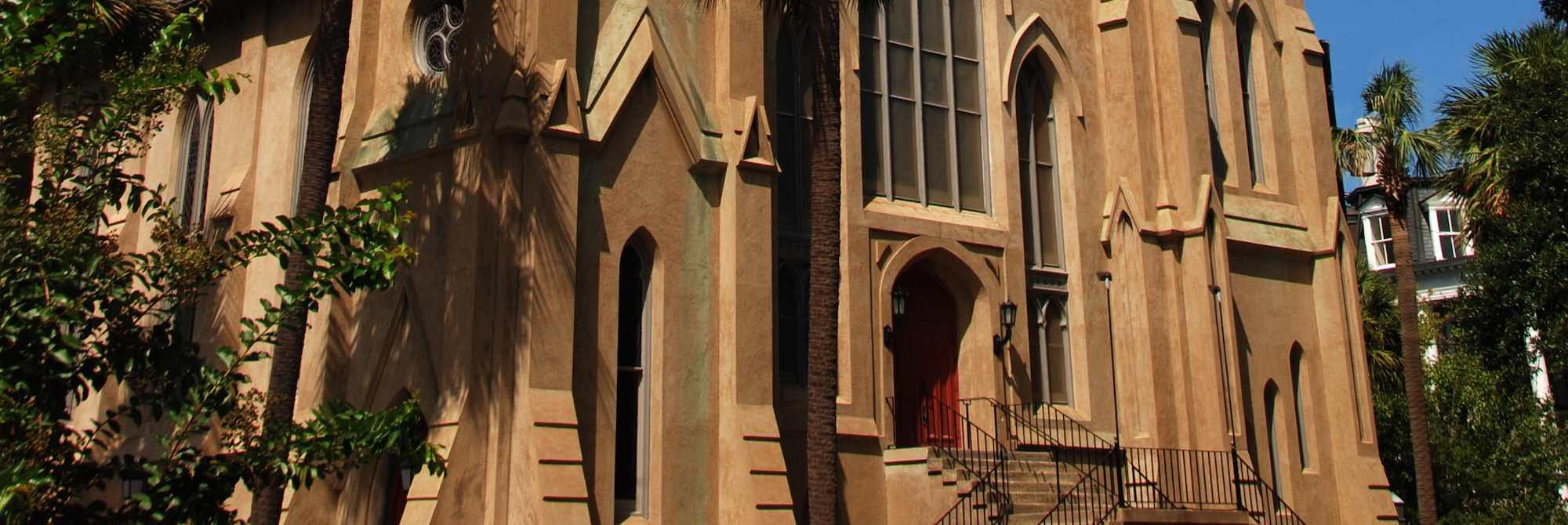Entrance of Wesley Monumental United Methodist Church, on Calhoun Square, Savannah, GA.