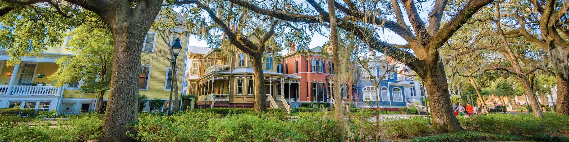 Colorful houses on Whitaker Street in Savannah, GA, as seen from Forsyth Park.